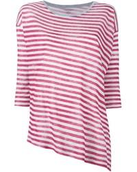 Camiseta con cuello circular de rayas horizontales en blanco y rojo de Majestic Filatures