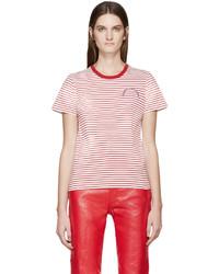 Camiseta con cuello circular de rayas horizontales en blanco y rojo de Marc Jacobs