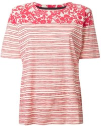 Camiseta con cuello circular de rayas horizontales en blanco y rojo de Tory Burch