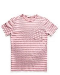 Camiseta con cuello circular de rayas horizontales en blanco y rosa