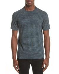 Camiseta con cuello circular de rayas horizontales en gris oscuro