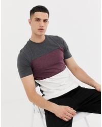 Camiseta con cuello circular de rayas horizontales en gris oscuro de ONLY & SONS