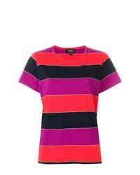Camiseta con cuello circular de rayas horizontales en multicolor