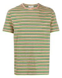 Camiseta con cuello circular de rayas horizontales en multicolor de YMC