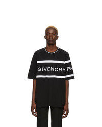 Camiseta con cuello circular de rayas horizontales en negro y blanco de Givenchy