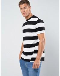 Camiseta con cuello circular de rayas horizontales en negro y blanco de Mango