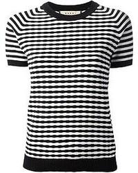 Camiseta con cuello circular de rayas horizontales en negro y blanco de Marni