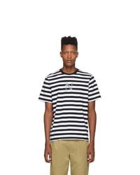 Camiseta con cuello circular de rayas horizontales en negro y blanco de Noah NYC