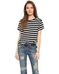 Camiseta con Cuello Circular de Rayas Horizontales en Negro y Blanco de R 13