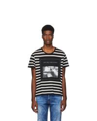 Camiseta con cuello circular de rayas horizontales en negro y blanco de R13