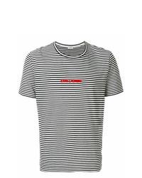 Camiseta con cuello circular de rayas horizontales en negro y blanco de Saint Laurent