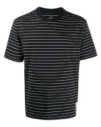 Camiseta con cuello circular de rayas horizontales en negro y blanco de Satisfy