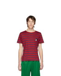 Camiseta con cuello circular de rayas horizontales en rojo y azul marino de Gucci