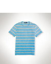Camiseta con cuello circular de rayas horizontales en turquesa