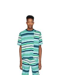Camiseta con cuello circular de rayas horizontales en turquesa de Kenzo