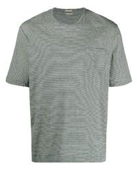 Camiseta con cuello circular de rayas horizontales en verde menta de Massimo Alba