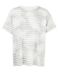 Camiseta con cuello circular de rayas horizontales gris de Amiri