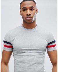 Camiseta con cuello circular de rayas horizontales gris de ASOS DESIGN