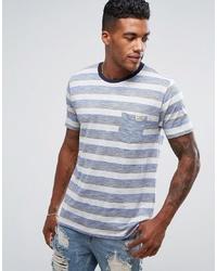 Camiseta con cuello circular de rayas horizontales gris de Brave Soul