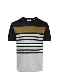 Camiseta con cuello circular de rayas horizontales gris de Cerruti 1881