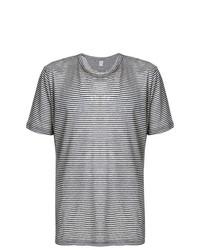 Camiseta con cuello circular de rayas horizontales gris de Eleventy