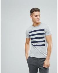 Camiseta con cuello circular de rayas horizontales gris de French Connection