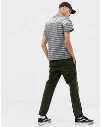 Camiseta con cuello circular de rayas horizontales gris de HUF
