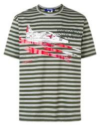 Camiseta con cuello circular de rayas horizontales gris de Junya Watanabe MAN