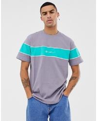 Camiseta con cuello circular de rayas horizontales gris de Mennace