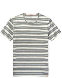 Camiseta con cuello circular de rayas horizontales gris de Paul Smith