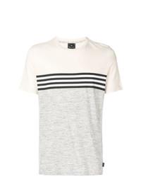 Camiseta con cuello circular de rayas horizontales gris de Ps By Paul Smith