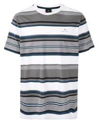 Camiseta con cuello circular de rayas horizontales gris de PS Paul Smith