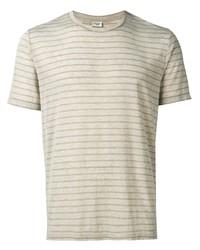 Camiseta con cuello circular de rayas horizontales gris de Saint Laurent