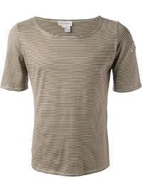 Camiseta con cuello circular de rayas horizontales marrón claro
