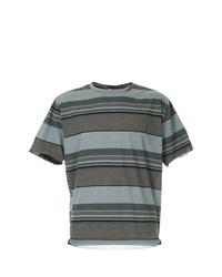 Camiseta con cuello circular de rayas horizontales marrón
