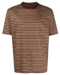 Camiseta con cuello circular de rayas horizontales marrón de Lanvin