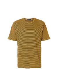 Camiseta con cuello circular de rayas horizontales mostaza de Roberto Collina