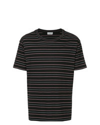 Camiseta con cuello circular de rayas horizontales negra