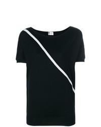Camiseta con cuello circular de rayas horizontales negra de Lanvin