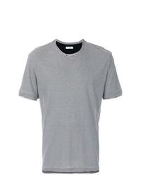 Camiseta con cuello circular de rayas horizontales negra de Paolo Pecora