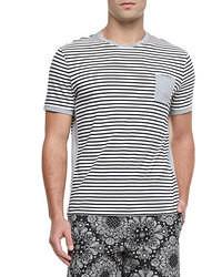 Camiseta con cuello circular de rayas horizontales