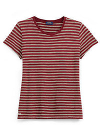 Camiseta con cuello circular de rayas horizontales roja