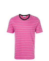 Camiseta con cuello circular de rayas horizontales rosa de AMI Alexandre Mattiussi