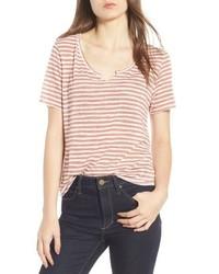 Camiseta con cuello circular de rayas horizontales rosada