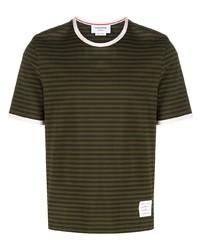 Camiseta con cuello circular de rayas horizontales verde oliva de Thom Browne