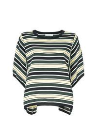 Camiseta con cuello circular de rayas horizontales verde oscuro de ASTRAET