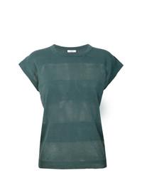 Camiseta con cuello circular de rayas horizontales verde oscuro de Peserico