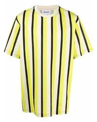 Camiseta con cuello circular de rayas verticales amarilla de Kenzo