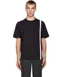 Camiseta con cuello circular de rayas verticales azul marino