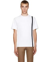 Camiseta con cuello circular de rayas verticales blanca